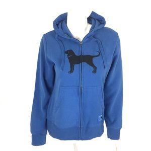 The Black Dog Zip Up Sweater Medium Blue